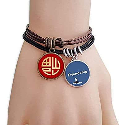 Gold Round China Fook Pattern Friendship Bracelet Leather Rope Wristband Couple Set Estimated Price -