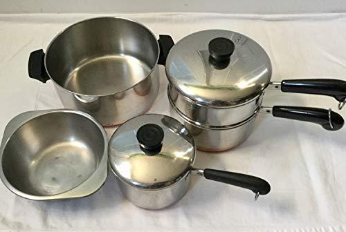 Lot: Revere 4qt stock pot; 2qt & 1.5qt Saucepans; Double Boiler; Steamer Lids. Copper Bottoms