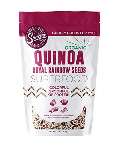 (Suncore Foods - The Finest Organic 100% Bolivian Royal Rainbow Quinoa Whole Grain, 15 oz Resealable Pouch)