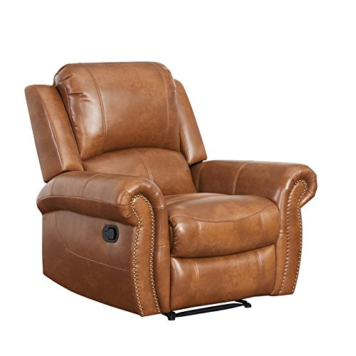 Abbyson Winston Leather Recliner in Brown