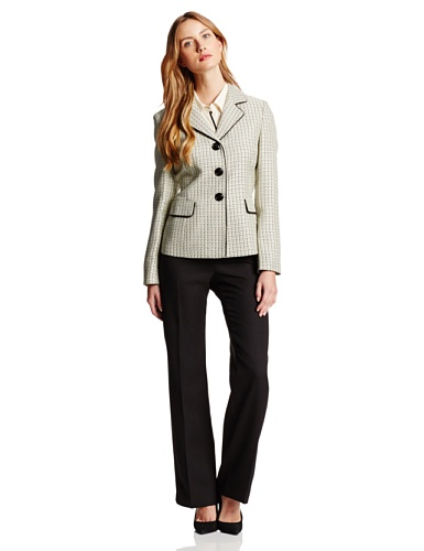 Le Suit Women's 3 Button Tweed Jacket with Pant Suit Set, Lemon Ice/Black, 14