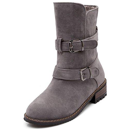 Ankle Mid Heel Shoes Bootie Biker Block COOLCEPT Boots Women Gray Autumn EwRqqP8