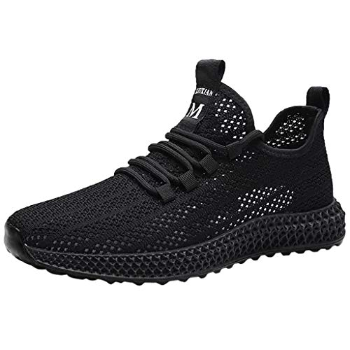 (Bralonees Men Sneakers Casual Solid Shoes Outdoor Breathable Running Sport Flat Tourist Air Cushion Insole Lightweight Black)