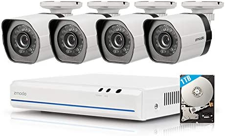 1TB HDD Zmodo 4 Channel HDMI NVR 4x720p HD Security Camera Smart Simplified PoE System