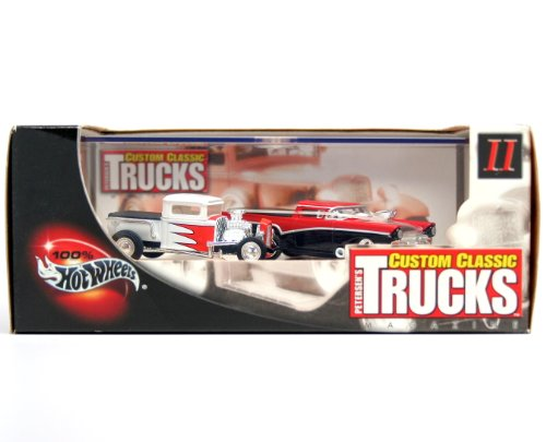 '32 MODEL A FORD PICKUP & '57 FORD RANCHERO * Limited Edition * Hot Wheels 2002 PETERSEN'S CUSTOM CLASSIC TRUCKS MAGAZINE 1:64 Scale 2-Car Custom Vehicle Box Set - 1932 Chevy Pickup