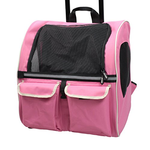 Meiying Roll Around 4-in-1 Pet Carrier Travel Backpack for Dogs and Cats Travel Tote Airline Approved (Pets up to 17 Pounds, Pink) by Meiying (Image #2)