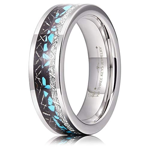 THREE KEYS JEWELRY 6mm Tungsten Wedding Ring with Silver Black Imitated Meteorite Green Turquoise Inlay Wedding Band Engagement Ring High Polished Size 10.5