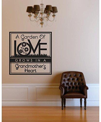 12 x 12 Design with Vinyl RE 1 C 2363 A Garden Of Love Grows In Grandmas Heart Image Quote Vinyl Wall Decal Sticker Black