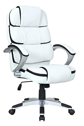 Ergonomic PU Leather High Back Executive Computer Work Desk Task Office Chair (White)