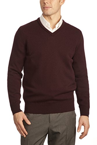 Great and British Knitwear Men's 100% Lambswool Plain V Neck Sweater. Made In Scotland-Aniseed-Large - Scottish Lambswool