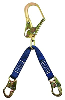 """FallTech 8250LTW Rebar Positioning Assembly - Steel Rebar Hook with 25"""" Gate, 2 Steel Snap Hooks, 2 Layer Jacketed Web, 24"""" Non-Swivel, Blue"""