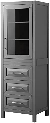 Wyndham Collection Daria Linen Tower in Dark Gray with Shelved Cabinet Storage and 3 Drawers