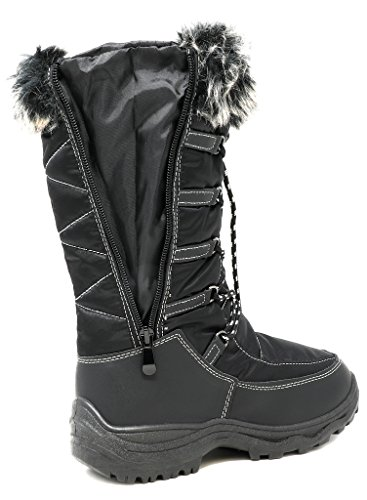 arctiv8 Damen Kunstfell Futter Winter Schneestiefel Maine-schwarz