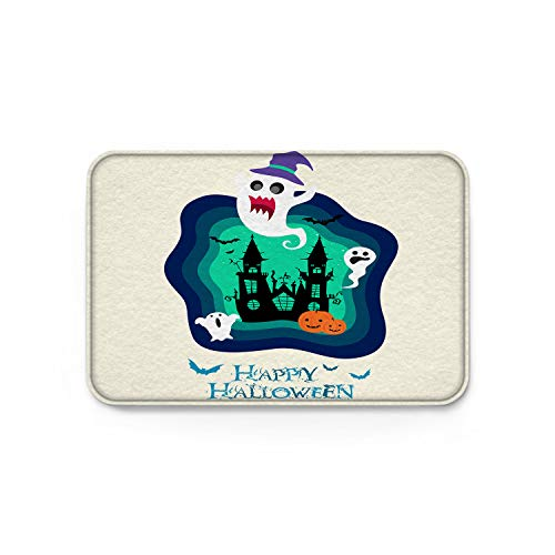 wanxinfu Doormats Halloween Ghost Blue Cartoon Clipart Welcome