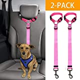 Docamor Adjustable Dog Seat Belt Dog Harness Pet Car Vehicle Seat Belt Pet Safety Leash Leads Dogs/Cats Adjustable From 18 To 30 Inch Nylon Fabric Material Carnation (Pink)