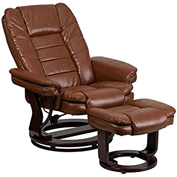 Delacora BT-7818-BN-GG 41 Inch Tall Wood Framed LeatherSoft Standard Swivel Recliner with Ottoman