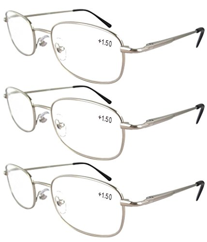 Eyekepper Metal Frame Spring Hinged Arms Reading Glasses 3 P