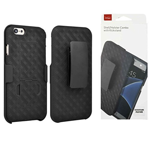 Verizon OEM Shell Holster Combo Thin Case with Stand Horizontal View and Belt Clip for Apple iPhone 6 / 6S - Retail Packaging - Black