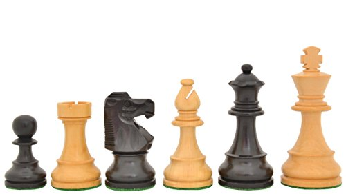 Reproduced French Lardy Exclusive Chess Pieces in Stained Jet Black / Box Wood - - Chess French Pieces Knight