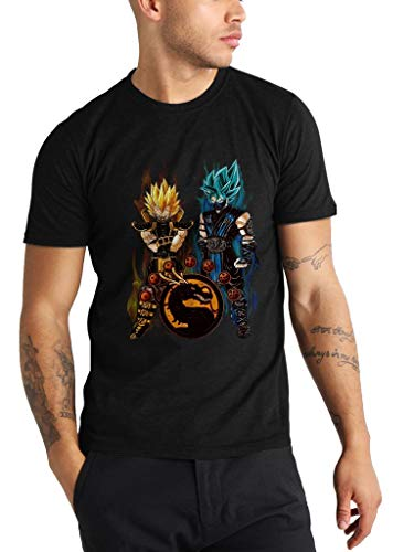 DBZ X Mortal Kombat - Funny Vintage Trending Awesome Unisex Shirt by SMLBOO Shirt (Unisex Black, L) ()