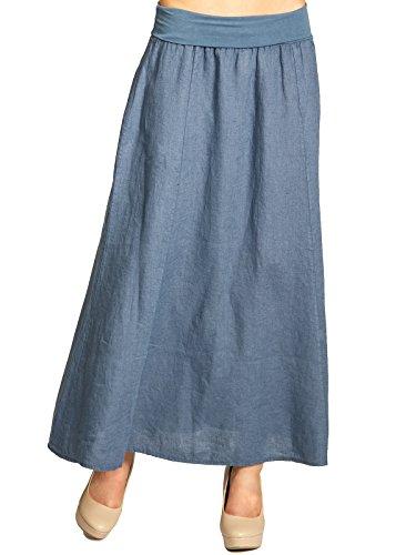 Jeans Vita con di in Donna Blu CASPAR Gonna RO019 Estiva Lino Elastico Lunga qSx4f7w
