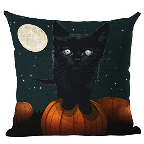 Challyhope 2017 Halloween Moon Print Linen Throw Pillow