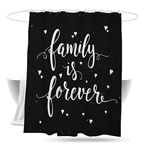 huimaoxiangbaowangdian Waterproof Bathtub Curtain Family Family is Forever Hand Drawn Typography with Little Cute Hearts Poster Style Shower Curtains in Bath W70×L70 Black and White