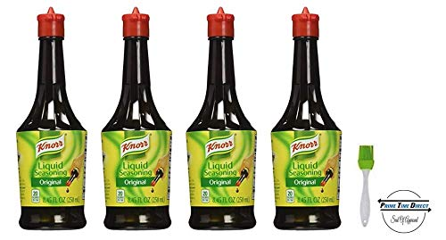 (Knorr Liquid Seasoning 8.45 oz (Pack of 4) with Silicone Basting Brush in a Prime Time Direct Sealed)