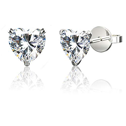 (.925 Sterling Silver Hypoallergenic Cubic Zirconia Heart Shape Stud Earrings,)