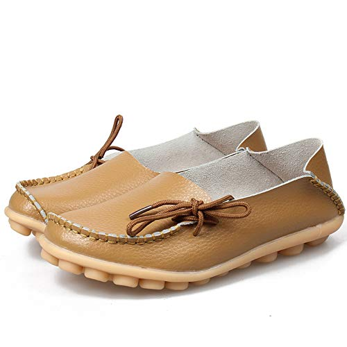 Moccasins Driving Slip On Shoes Khaki Women Breathable Comfort Flat Leather Shoes Oxfords Coach Casual Loafers Women's Loafers q84PcTTz