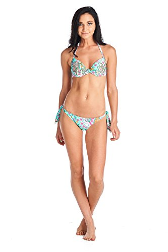Cia Maritima Womens Swimsuit Bikini Set Floral Acqua 0536552 Turquoise Pink Large