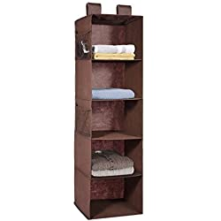 MaidMAX 5 Tiers Cloth Hanging Shelf for Closet Organizer with 2 Widen Straps, Foldable, Brown, 42 Inches High