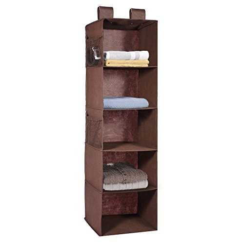 - MaidMAX 5 Tiers Cloth Hanging Shelf for Closet Organizer with 2 Widen Straps and 4 Mesh Pockets, Foldable, Brown, 42 Inches High