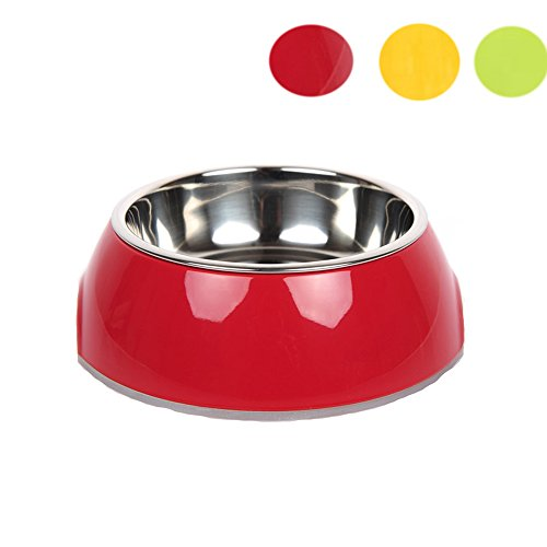 Dog Bowl Melamine (Deluxe Stainless Dog Bowl DUPET No Tip Anti Skid Non-Slip Rubber Base-Easy to Clean Pet Food Holder for Dogs Cats Food Bowl and Water Bowl Red M)