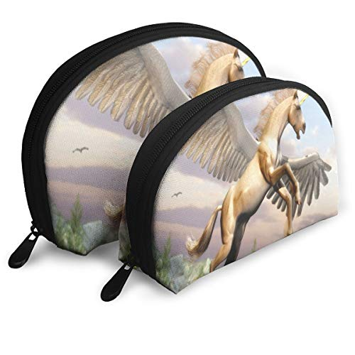 Makeup Bag Horse With A Horn And Wings Portable Shell Clutch Pouch For Girls Halloween Gift Pack - 2 -