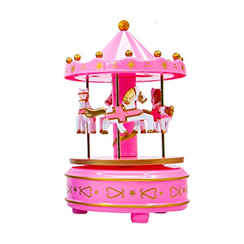 HahaBear Vintage Wooden Horses Rotating Music Box Christmas Birthday Gift Carousel Music Box, Clockwork Mechanism Laxury Carousel Music Box, Birthday Cake Topper (Pink)