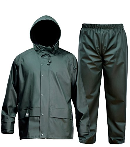 Cloth Foul Jacket Weather (Navis Marine FWG Men's Rain Suit Commercial Fishing Foul Weather Gear Heavy Duty Workwear Waterproof Jacket with Pants Consealed Hood 3 Pieces Breathable Vented Back .Dark Green (L))