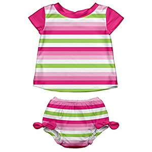 i play. Baby Girls' Swimsuit Set With Reusable Swim Diaper, Pink Stripe, 12 Months