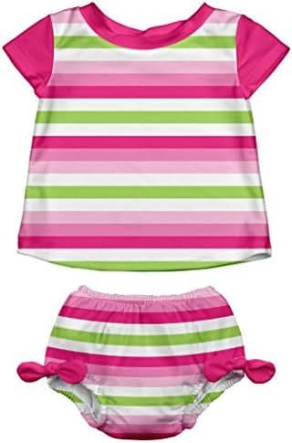 i play. Baby Girls Rashguard Set with Reusable Swim Diaper