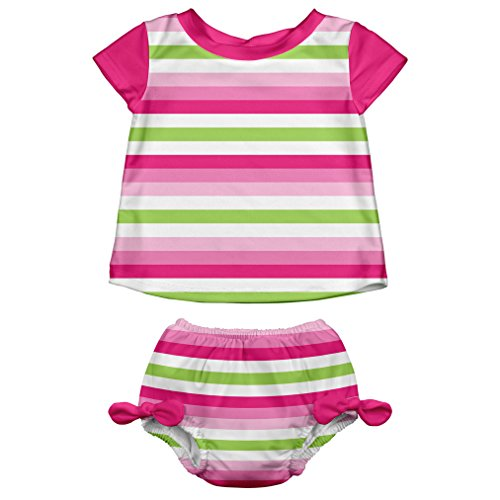 i play. Baby Girls' Swimsuit Set With Reusable Swim Diaper, Pink Stripe, 24 Months by i play.
