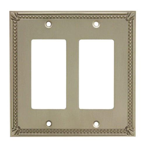 (Cosmas 44098-SN Satin Nickel Double GFI / Decora Rocker Wall Switch Plate Switchplate Cover)