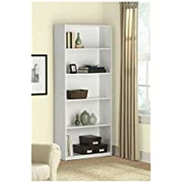 5-Shelf Wood Bookcase (White)