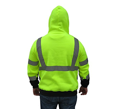 3C Products SAJ6700, ANSI/ISEA Class 3, Men's Safety Fleece Hoodie Jacket, Reflective, Pockets, Neon Green w/Black Bottom 2