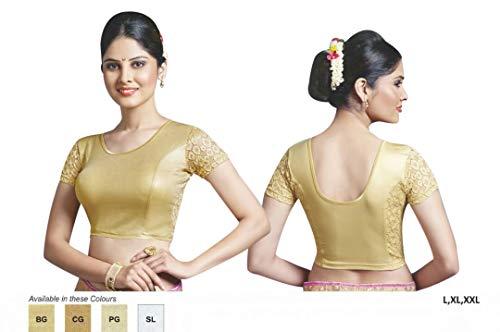 Swarovsaki With Saree Stretchable Indian Emporium 7506 Golden Ethnic Free Satin Designer Blouse FYwXfqAnx