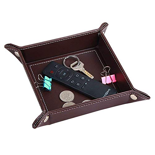 YAPISHI Valet Tray Leather Catchall Caddy Key Tray Jewelry Tray Bedside Tray Change Tray Phone Coin Wallet Watches Candy Holder Sundries Tray Storage Box