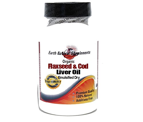 Organic Flaxseed 500mg and Cod Liver Oil 500mg (Emulsified Dry) * 100 Caps 100 % Natural - by EarhNaturalSupplements