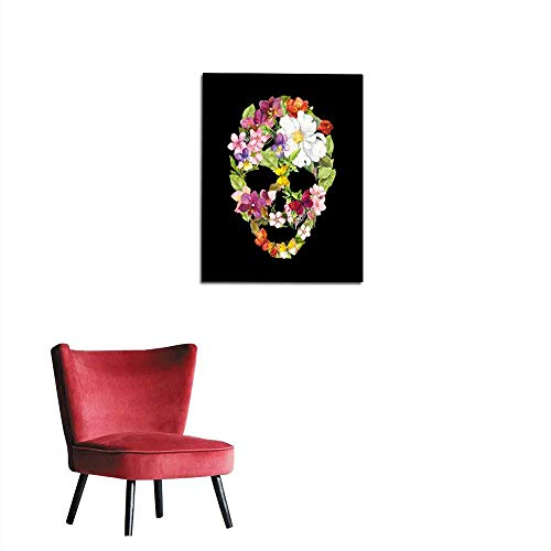 (longbuyer Photographic Wallpaper Skull with Flowers for Halloween Watercolor Mural)