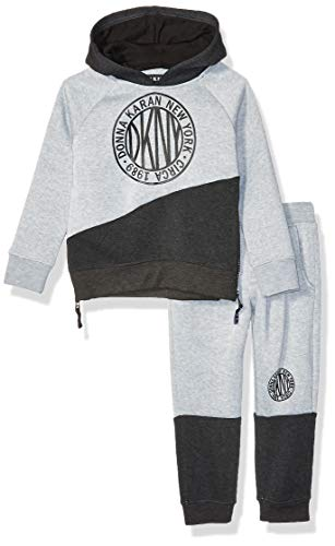 DKNY Boys New York Fleece Hoody and Jog Pant, Little Italy Heather Light, 5