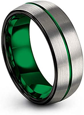 Black Tungsten Carbide Fancy Ring 8mm Wedding Band Anniversary Ring for Men and Women Size 8.5