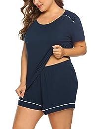 IN'VOLAND Women's Plus Size Shorts Pajama Set Short Sleeve Sleepwear Nightwear Loungewear Pjs Sets